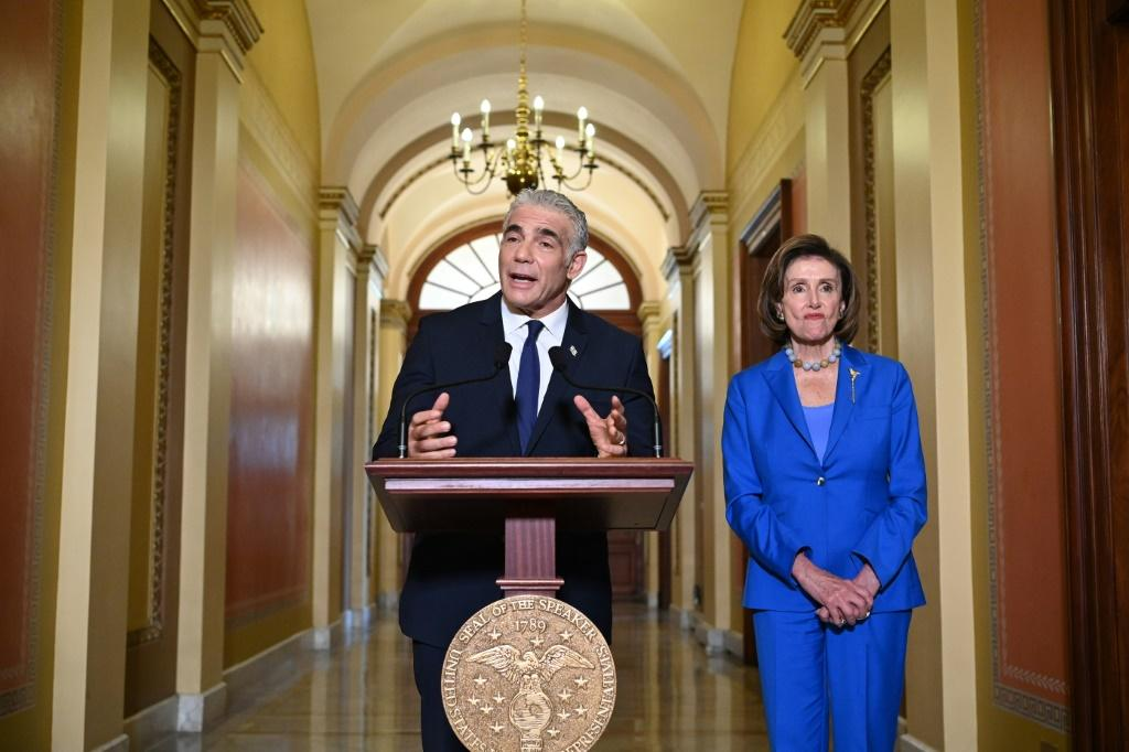 Israeli Foreign Minister Yair Lapid gives remarks after being welcomed by House Speaker Nancy Pelosi