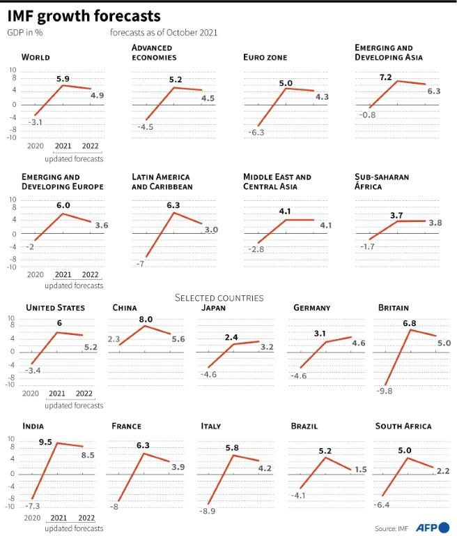 Updated IMF economic growth forecasts by world region and selected countries.