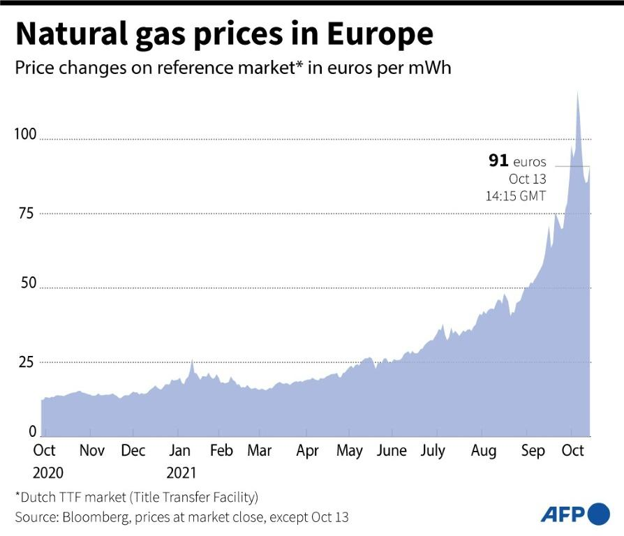 Graphic showing the changes in natural gas prices in Europe over a year, in euros per mWh.