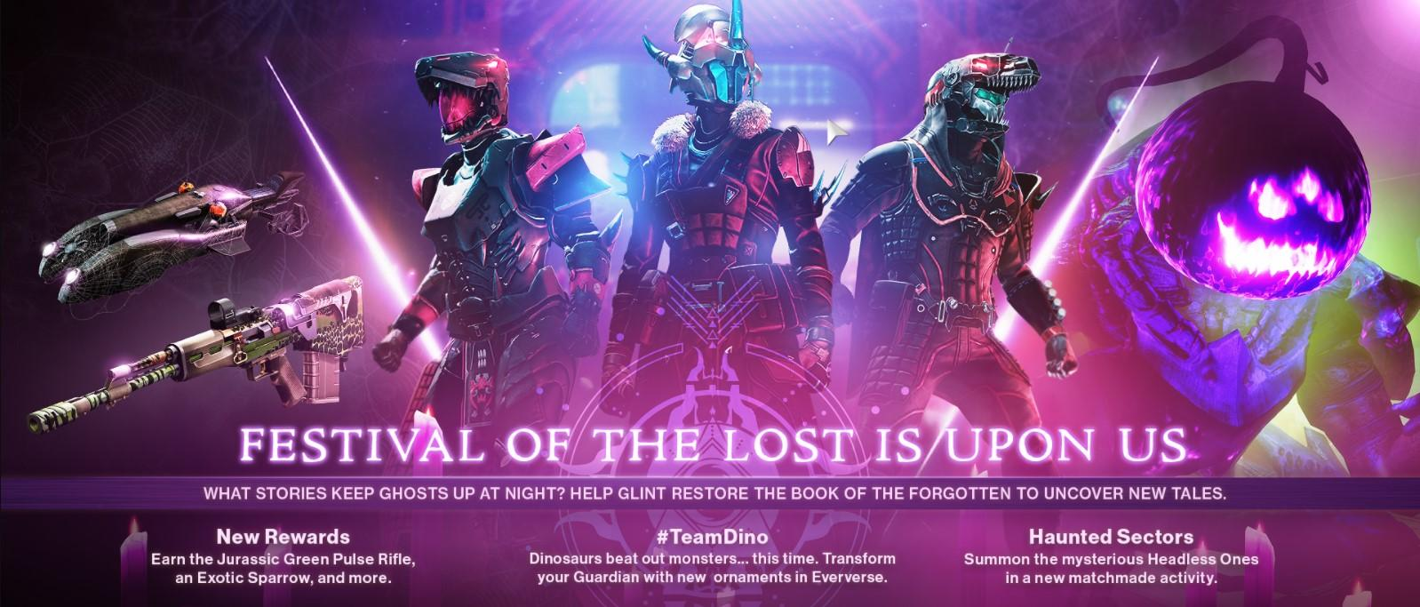 The latest Festival of the Lost features dino armor, haunted sectors, pumpkin head monsters and more