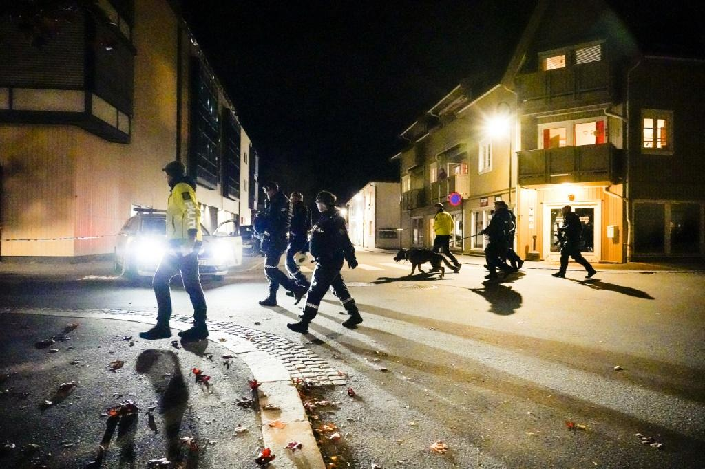 Norwegian police cordon off the scene of a deadly attack by bow and arrow in Kongsberg
