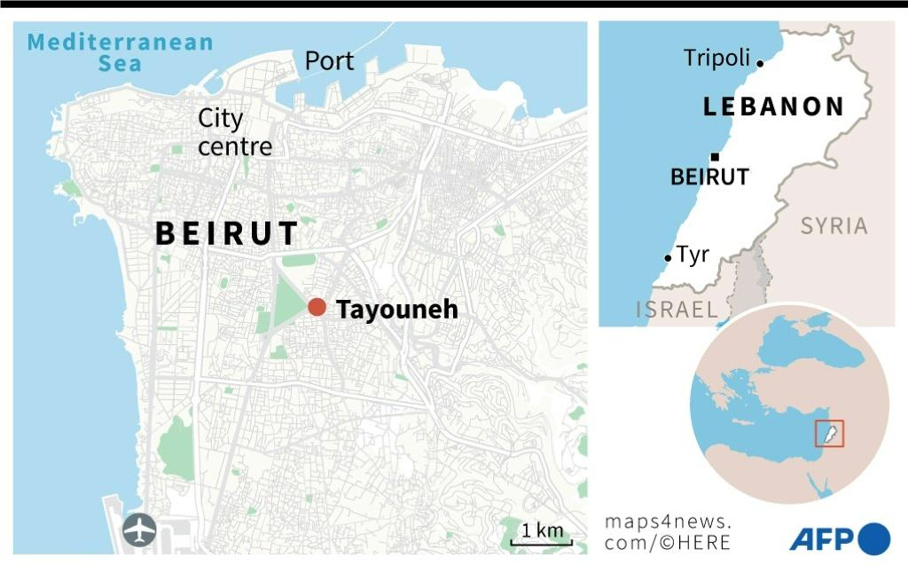 Map locating the Tayouneh residential area in Beirut, where deadly chaos erupts during a rally against a port blast judge