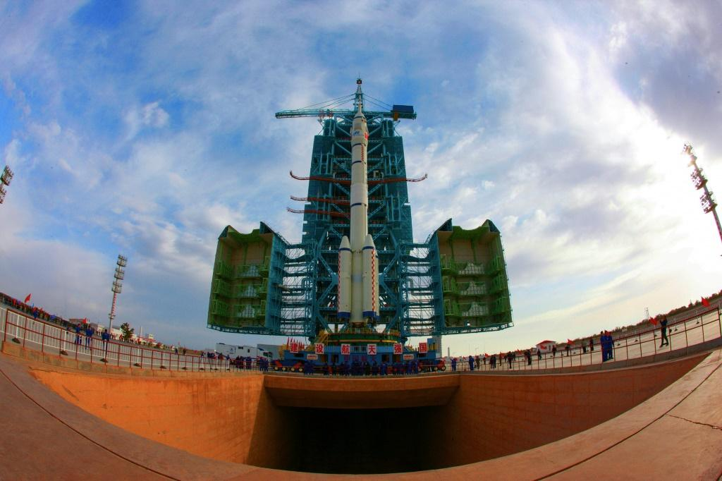 The Shenzhou-13 spacecraft is transported to the launching area at the Jiuquan Satellite Launch Centre in China's northwestern Gansu province