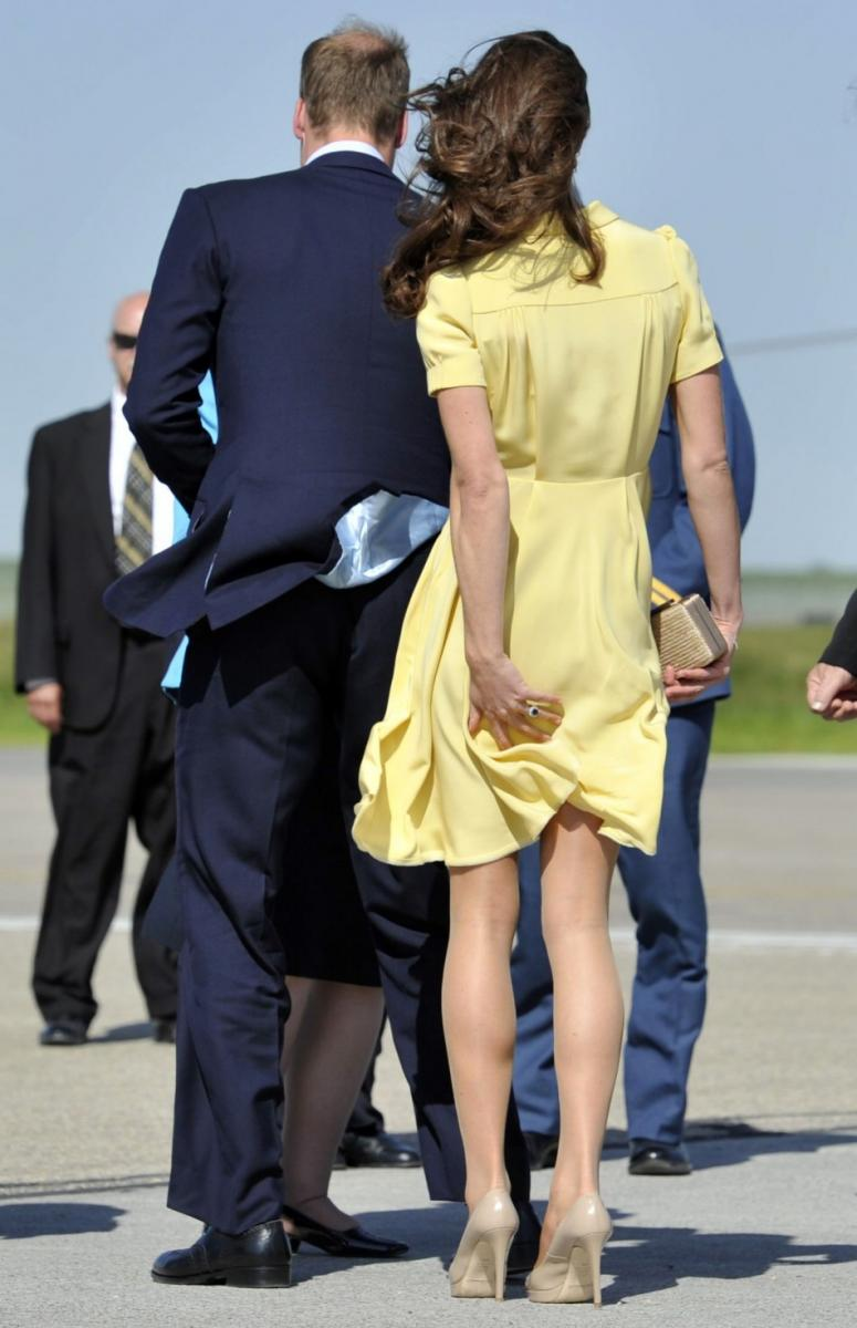 Kate Middleton: Yellow Dress Almost Offers a Peep [PHOTOS]