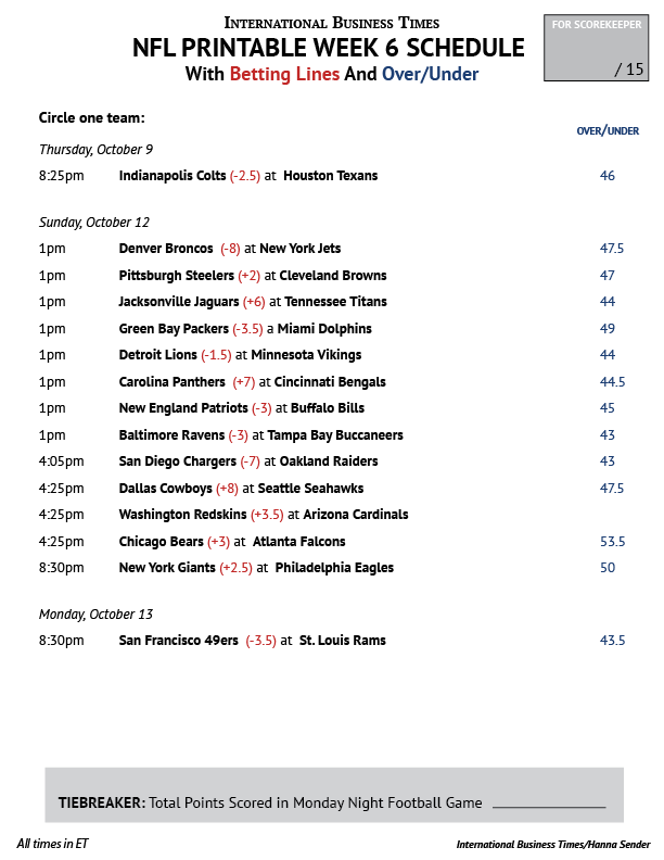 photo relating to Nfl Week 8 Printable Schedule known as NFL Business Pool 2014: Printable 7 days 6 Agenda With Betting