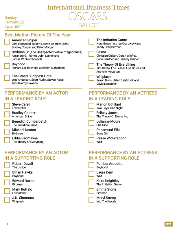 photograph relating to Oscar Ballots Printable referred to as Oscars 2015: Printable Ballot For Viewing The 87th Academy