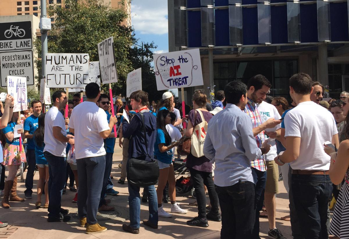 SXSW 2015: 'Stop The Robots' Protesters March To Stop Skynet Before It's Too Late