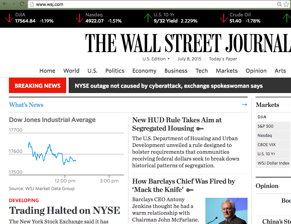 2b95239955b Wall Street Journal Homepage WSJ.com Is Down As NYSE Stops Trading ...