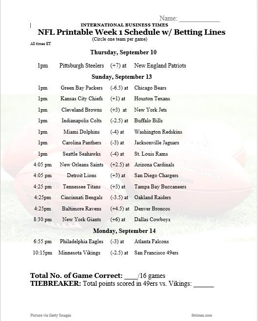 photo about Nfl Week 8 Printable Schedule titled NFL Office environment Pool 2015: Printable 7 days 1 Agenda With Betting