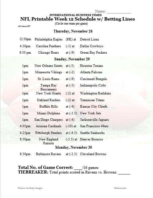 Week 12 nfl betting lines back lay betting system