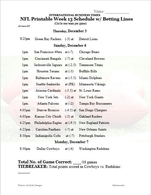 Nfl Office Pool 2015 Printable Week 13 Schedule With Betting Lines For All Games