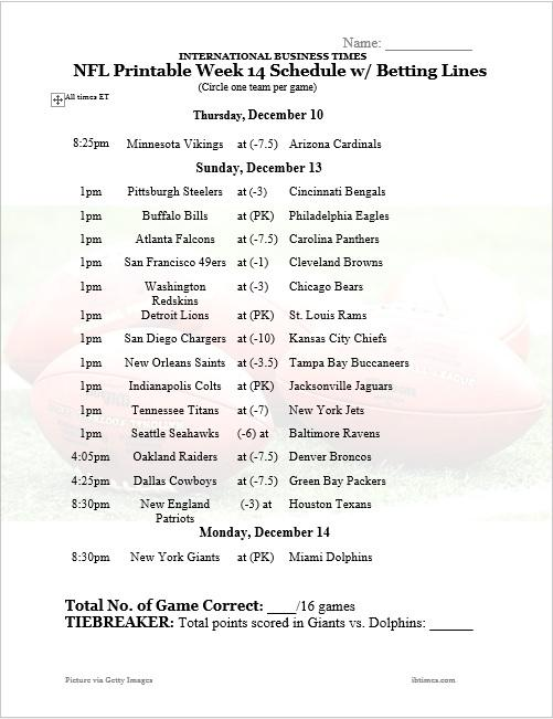 photo relating to Nfl Week 14 Printable Schedule identified as NFL Place of work Pool 2015: Printable 7 days 14 Program With