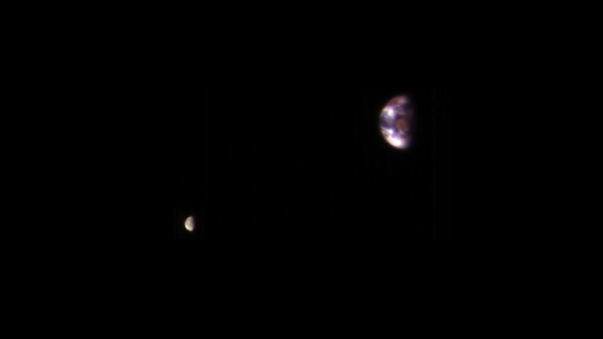 Earth, Moon Photographed From Mars