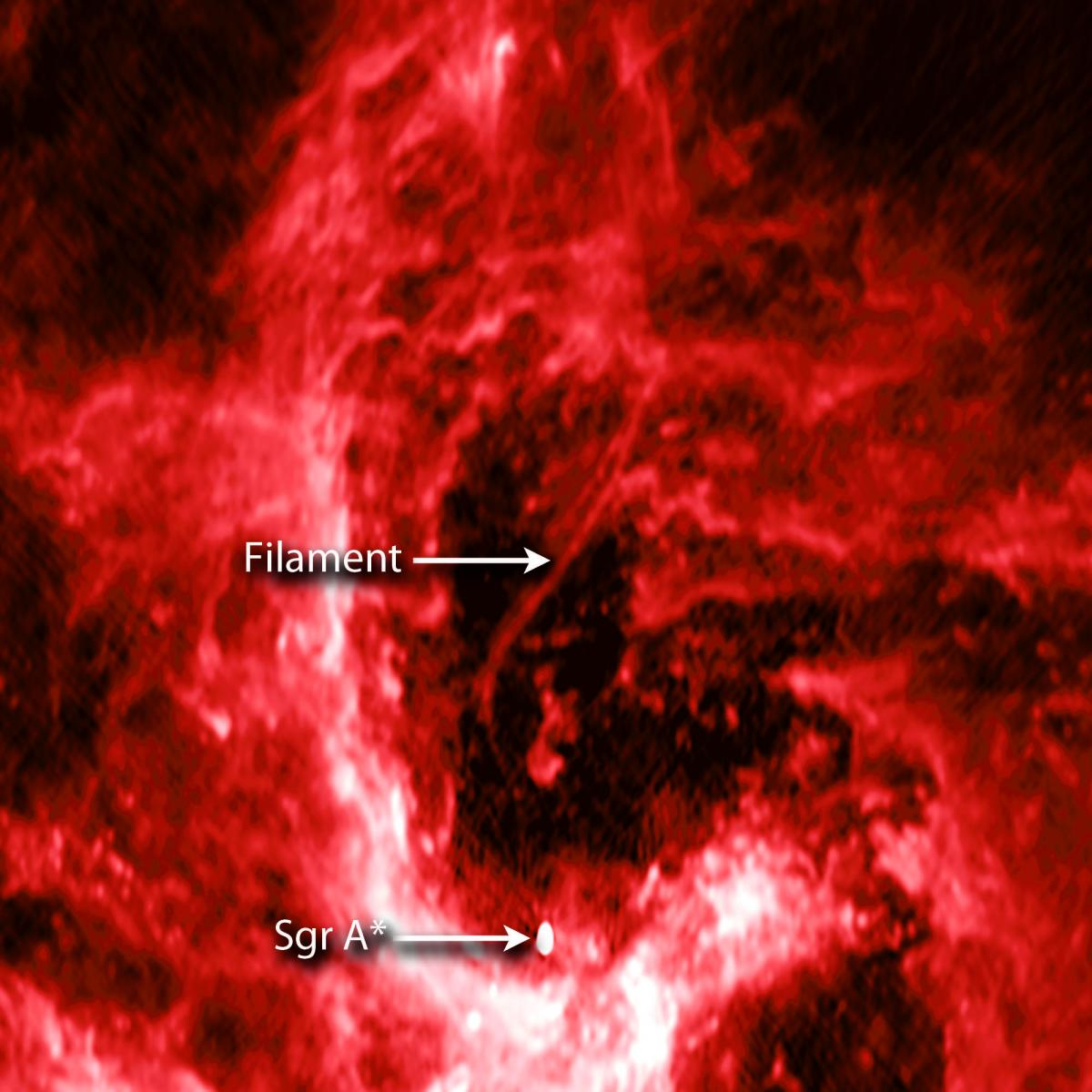 Evidence Of Cosmic Strings? Image Of Snake-Like Filament Captured Near Black Hole