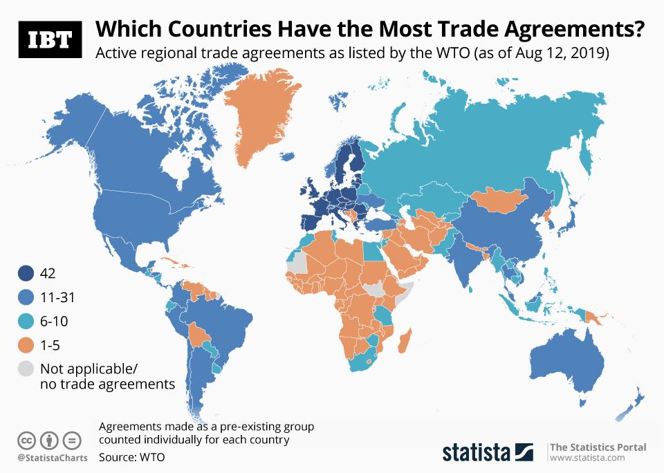Infographic: World Map Of Trade Agreement Density on world globe map, world map with seas labeled, world religion map, world record for, world map with countries,