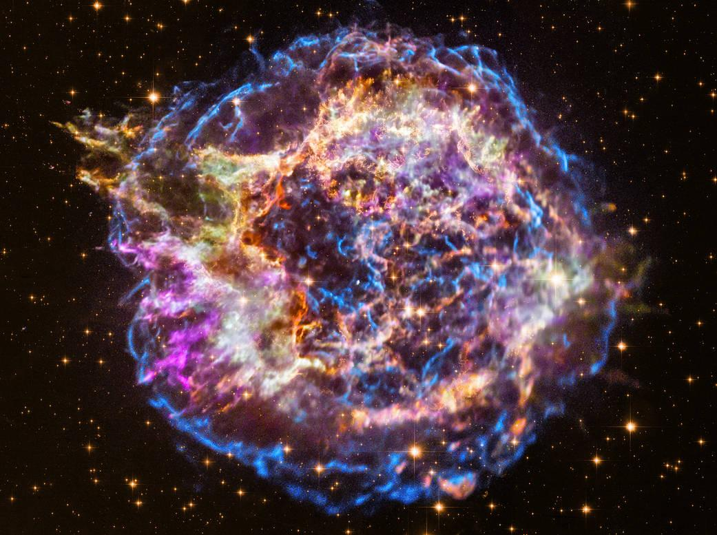 Colossal Stellar Explosion Near Earth Revealed by Layers