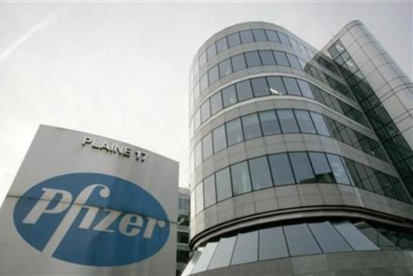 View of Belgian headquarters of US pharmaceutical giant Pfizer in Brussels