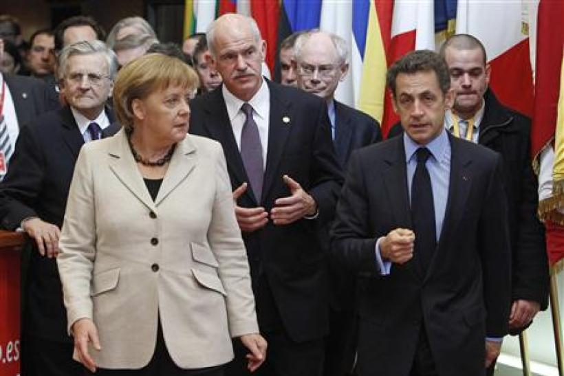 ECB President Trichet, Germany's Angela Merkel, Greece's Prime Minister Papandreou EU Council President Van Rompuy and France's President Sarkozy leave the EU Council building in Brussels - file photo.