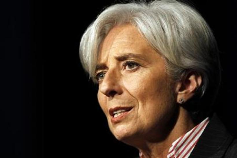 France's Finance Minister Christine Lagarde speaks to close the two-day 'Salon des Entrepreneurs' (Businessmen Show) in Paris
