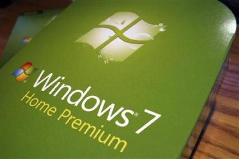 Packages of the new Windows operating system, Windows 7 sit on a desk before being installed in Golden