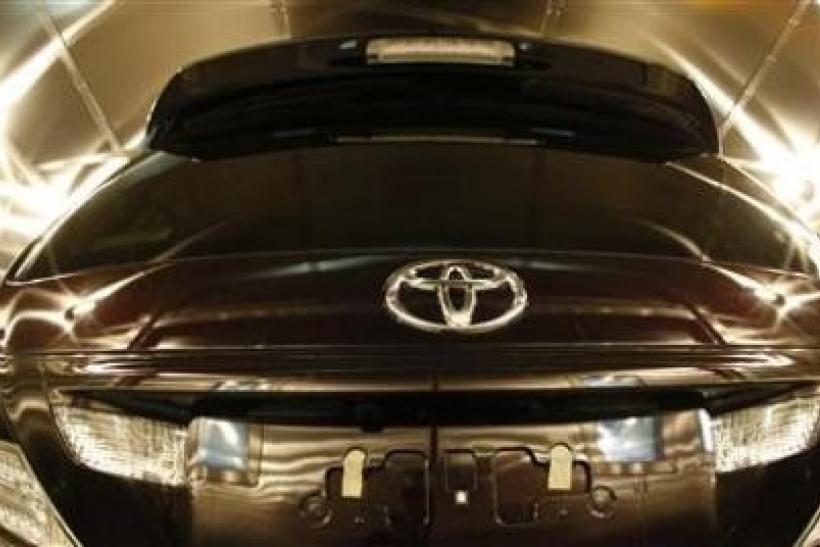 A Toyota car is seen inside the environment testing chamber during a quality control demonstration at its headquarters in Toyota
