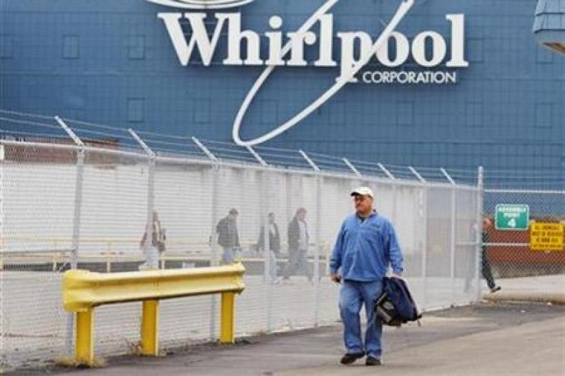 A worker walks out of the Whirlpool plant at the end of his shift in Evansville