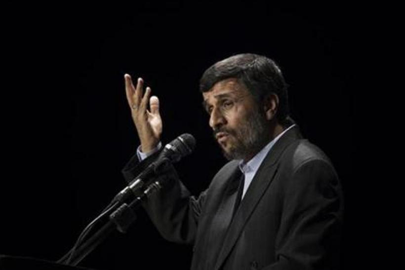 Iranian President Ahmadinejad speaks during ceremony to mark Fourth National Anniversary of Nuclear Technology, in Tehran