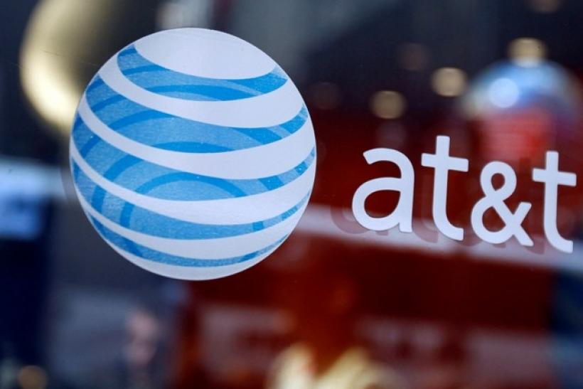 The AT&T logo is seen at their store in Times Square in New York