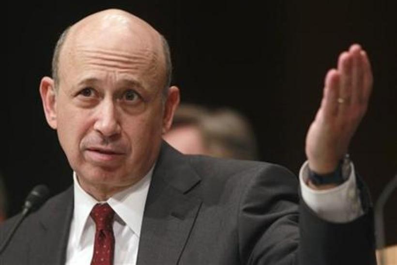 Goldman Sachs Chairman and CEO Lloyd Blankfein gestures during his testimony in Washington