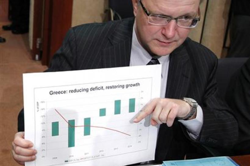 EU Commissioner Rehn displays a graphic during an eurozone finance ministers meeting in Brussels