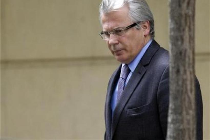 Spanish High Court judge Baltasar Garzon leaves the High Court in Madrid
