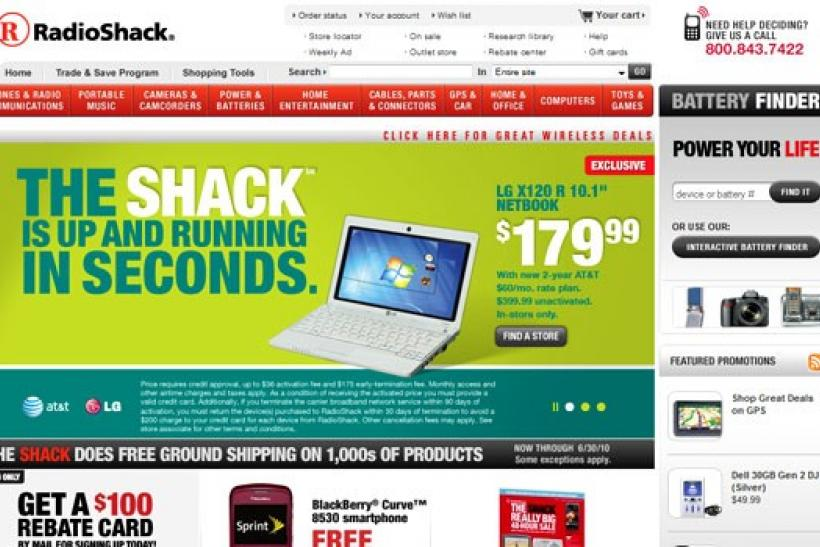 A webshot of the corporate homepage of RadioShack