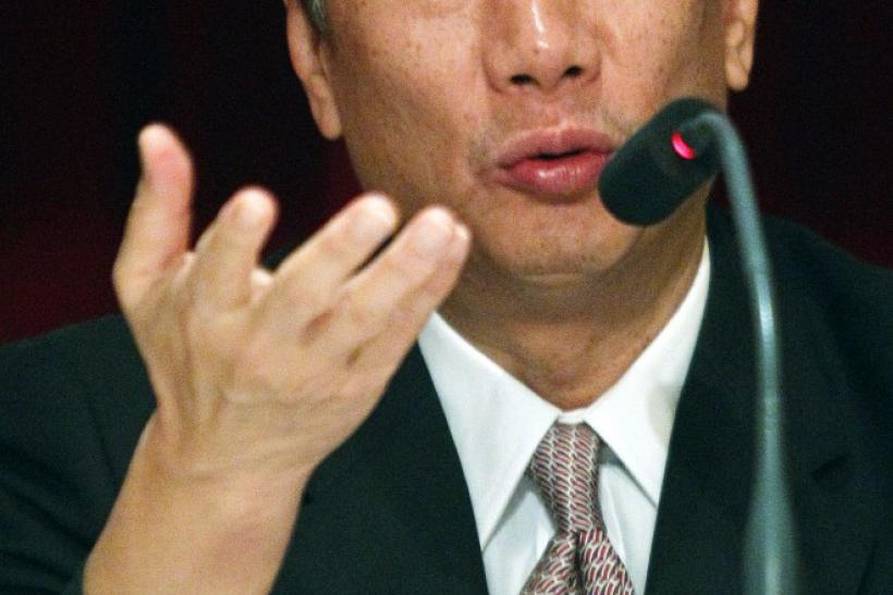 Terry Gou, CEO of Hon Hai, Foxconn's parent company, speaks at a shareholder's meeting in Tucheng, Taiwan.