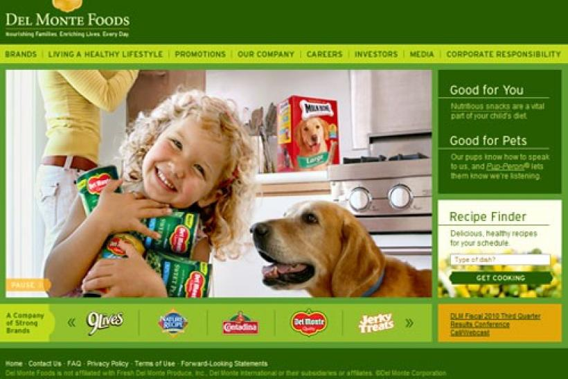 A screenshot of Del Monte Foods homepage