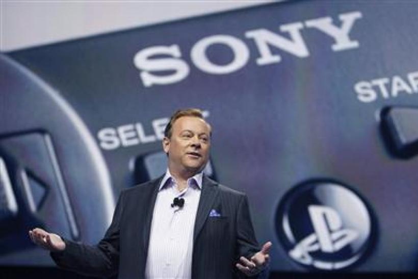 President and CEO of Sony Computer Entertainment of America Tretton speaks at a media briefing during the E3 at the Shrine auditorium in Los Angeles