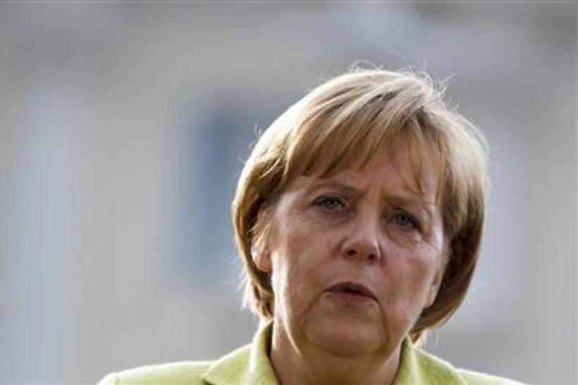 German Chancellor Merkel speaks during news conference after Future summit at government guest house Schloss Meseberg