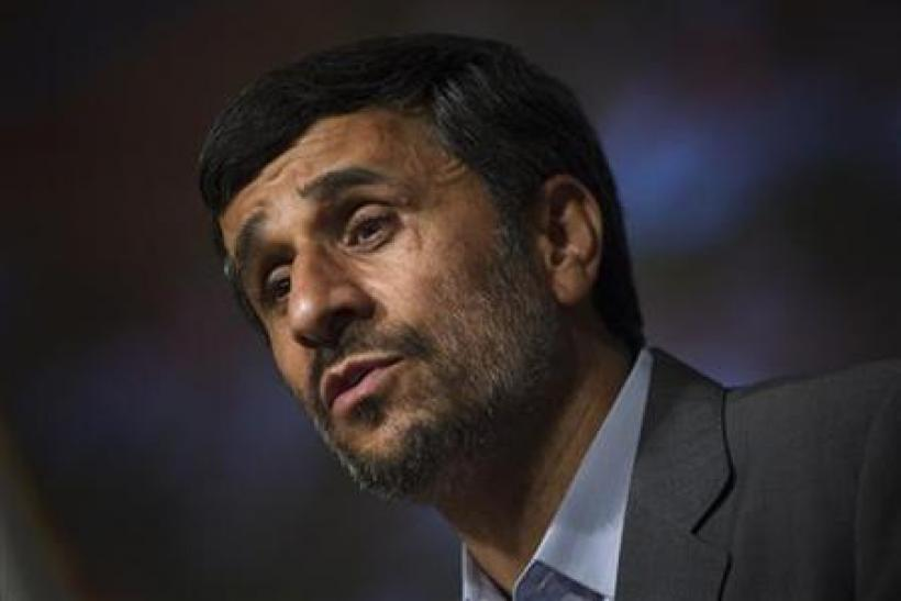 Iranian President Ahmadinejad speaks during antichemical weapon ceremony in Tehran