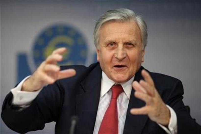 Trichet President of ECB addresses the media during his monthly news conference at the ECB headquarters in Frankfurt