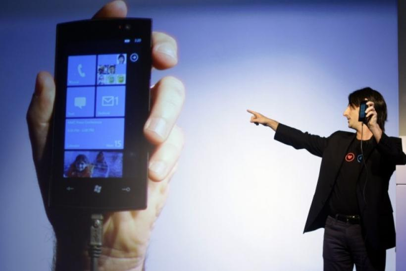 "Microsoft's VP for Windows Phone Program Management Joe Belfiore presents ""Windows phone 7."" Microsoft showed a strong quarter, but has not built a strong presence in the mobile sector."