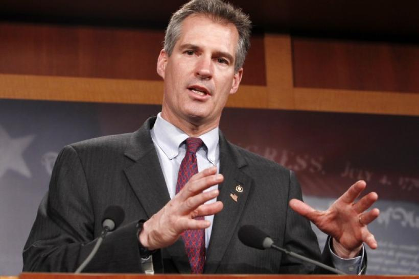 Scott Brown speaks after his swearing-in at the Capitol in Washington