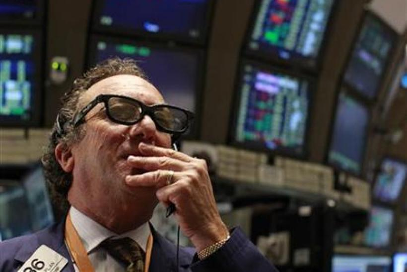 A trader wears RealD 3-D glasses on the floor of the New York Stock Exchange