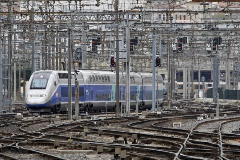 A French High Speed Train (TGV) arrives at Marseille's railway station during a national strike.