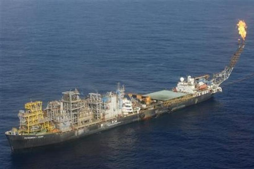 An aerial view shows the state oil company Petrobras P-34 oil rig in Brazil,