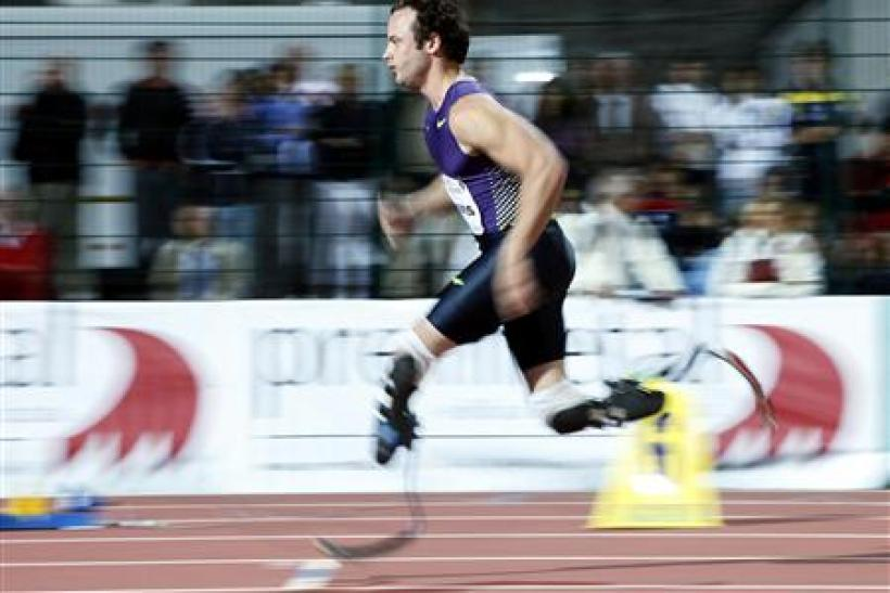 South Africa's Oscar Pistorius competes in the men's 400 m race during the Palio della Quercia Games in Rovereto August 31, 2010.