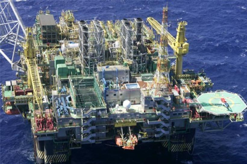 An aerial view of oil platforms P-52 for the oil company Petrobas at Campos basin in Rio de Janeiro, Brazil