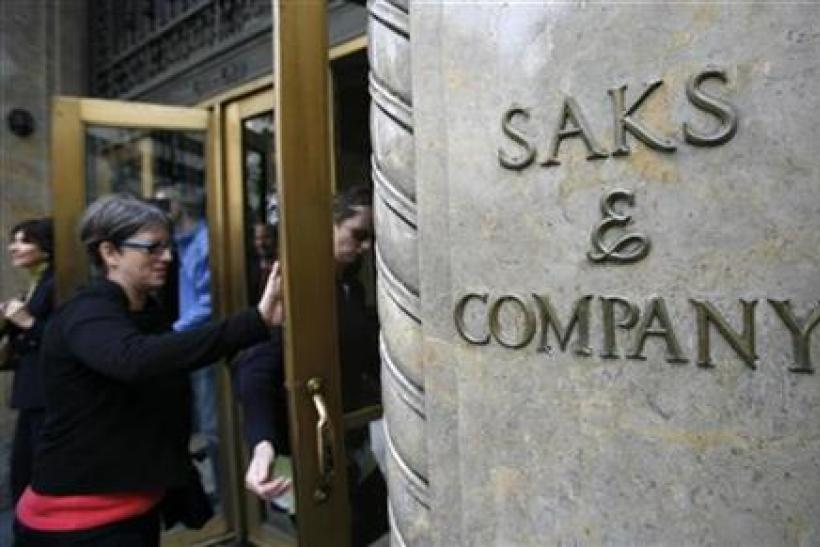 The outside of the Saks Fifth Avenue store is seen in New York