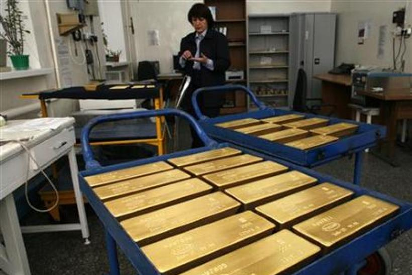 Trays with gold ingots are placed in a room for final weighing and packaging at the Krastsvetmet plant in the Siberian city of Krasnoyarsk