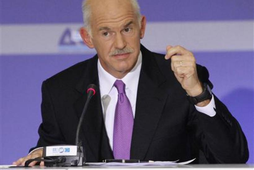 Greece's Prime Minister George Papandreou delivers a speech during a news conference in Thessaloniki