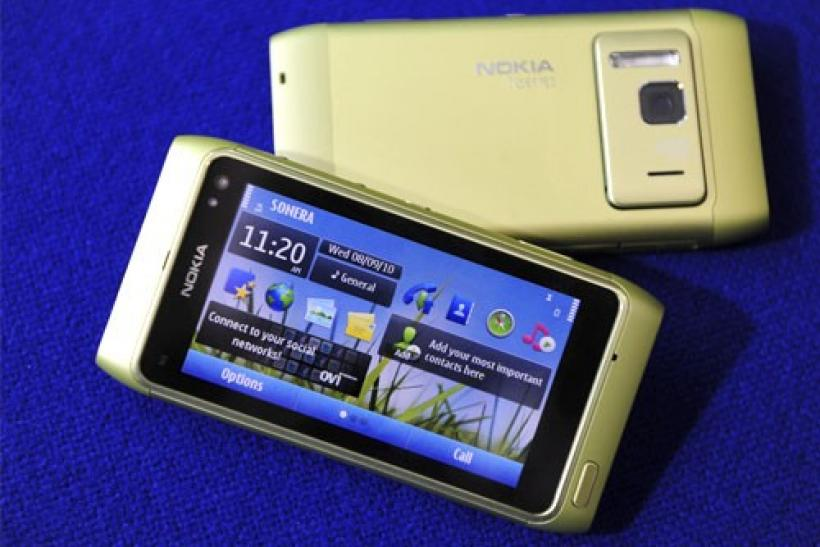 The Nokia N8 smartphone is displayed in Espoo, Finland