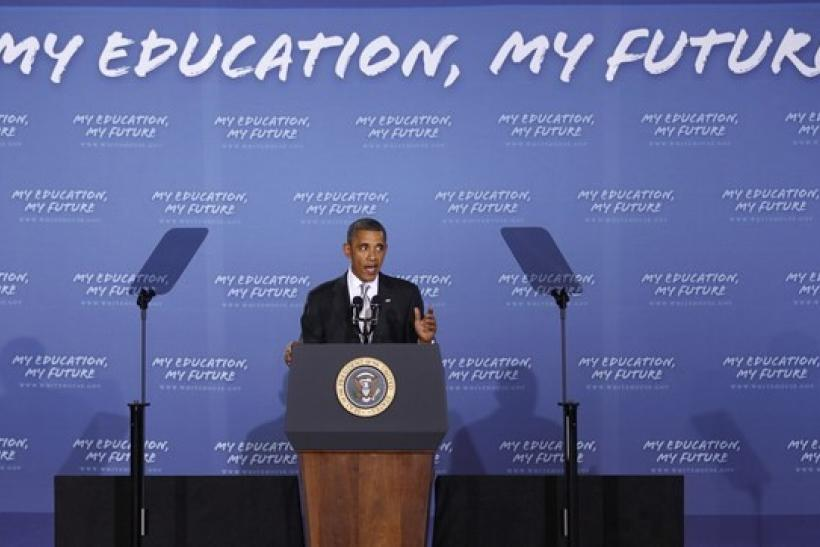 U.S. President Barack Obama makes his second annual back-to-school speech at Julia R. Masterman Laboratory and Demonstration School in Philadelphia, September 14, 2010.